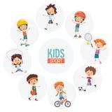 Vector Illustration Of Kids Making Sport. Eps 10 royalty free illustration