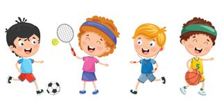 Vector Illustration Of Kids Making Sport. Eps 10 Royalty Free Stock Photography
