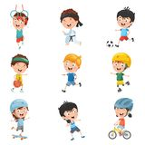 Vector Illustration Of Kids Making Sport. Eps 10 vector illustration