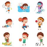 Vector Illustration Of Kids Making Sport. Eps 10 Stock Images