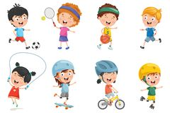 Vector Illustration Of Kids Making Sport. Eps 10 Royalty Free Stock Photo