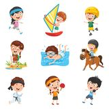 Vector Illustration Of Kids Making Sport. Eps 10 Royalty Free Stock Photos
