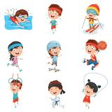 Vector Illustration Of Kids Making Sport. Eps 10 Stock Photography