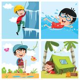 Vector Illustration Of Kids At Nature. Eps 10 Royalty Free Stock Photography