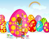 Colorful Easter Egg in garden Stock Images