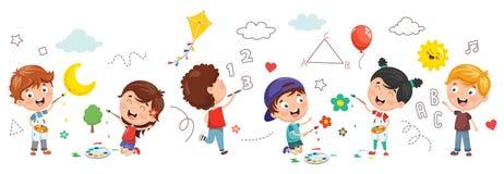 Vector Illustration Of Kids Painting. Eps 10 vector illustration