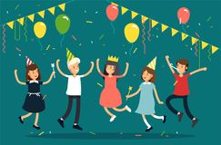 Vector illustration of kids party. Funny children character jumping with party hats, confetti, balloons. Friends. Celebrating party Stock Photography