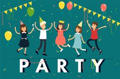Vector illustration of kids party. Funny children character jumping with party hats, confetti, balloons. Friends. Celebrating party Stock Images
