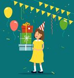 Vector illustration of kids party. Funny girl character with party hat keeping tack of gift boxes, confetti, balloons. Happy birthday celebrating party Stock Photography