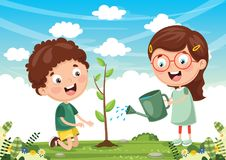 Vector Illustration Of Kids Planting. Eps 10 Royalty Free Stock Images
