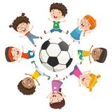 Vector Illustration Of Kids Playing Around A Ball stock illustration