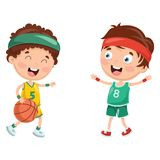 Vector Illustration Of Kids Playing Basketball. Eps 10 Stock Photos