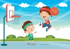 Vector Illustration Of Kids Playing Basketball. Eps 10 Stock Photography
