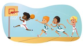 Vector Illustration Of Kids Playing Basketball. Team Playing Game. Team competition. Vector Illustration Of Kids Playing Basketball. Team Playing Game. Team vector illustration