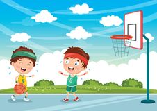 Vector Illustration Of Kids Playing Basketball. Eps 10 Royalty Free Stock Photos