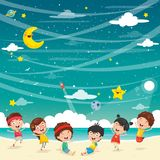 Vector Illustration Of Kids Playing At Beach. Eps 10 vector illustration