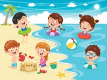 Vector Illustration Of Kids Playing At Beach. Eps 10 Stock Photo