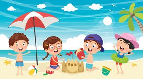 Vector Illustration Of Kids Playing At Beach. Eps 10 Royalty Free Stock Images