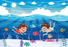 Vector Illustration Of Kids Playing At Beach. Eps 10 Royalty Free Stock Image