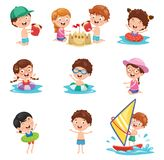 Vector Illustration Of Kids Playing At Beach. Eps 10 Stock Photos