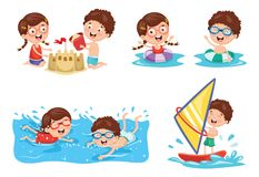 Vector Illustration Of Kids Playing At Beach. Eps 10 Stock Images