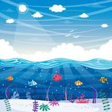 Vector Illustration Of Kids Playing At Beach. Eps 10 Stock Photography