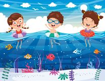 Vector Illustration Of Kids Playing At Beach. Eps 10 Royalty Free Stock Photography