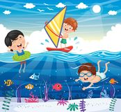 Vector Illustration Of Kids Playing At Beach. Eps 10 Stock Image