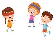Vector Illustration Of Kids Playing Blind Man`s Buff. Eps 10 royalty free illustration