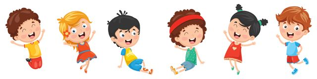 Vector Illustration Of Kids Playing. Eps 10 royalty free illustration