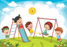 Vector Illustration Of Kids Playing. Eps 10 vector illustration