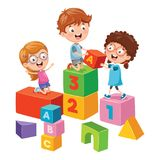Vector Illustration Of Kids Playing. Eps 10 Royalty Free Stock Photography