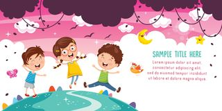 Vector Illustration Of Kids Playing. Eps 10 royalty free illustration