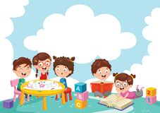 Vector Illustration Of Kids Playing. Eps 10 Stock Images