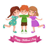 Vector illustration kids playing, greeting card happy childrens day background Royalty Free Stock Photography