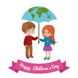 Vector illustration kids playing, greeting card happy childrens day background Stock Image