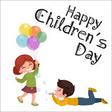 Vector illustration kids playing, greeting card happy childrens day background Royalty Free Stock Photo