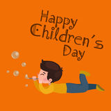 Vector illustration kids playing, greeting card happy childrens day background Stock Images