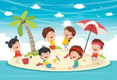 Vector Illustration Of Kids Playing At Island. Eps 10 Stock Photography