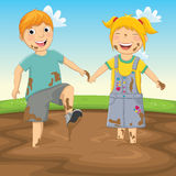 Vector Illustration Of Kids Playing in Mud. 