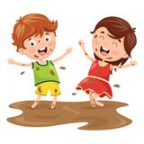 Vector Illustration Of Kids Playing In Mud. Eps 10 Stock Photo