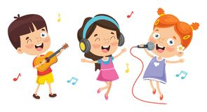 Vector Illustration Of Kids Playing Music stock illustration