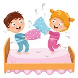 Vector Illustration Of Kids Playing Pillow Fight. Eps 10 Stock Photo