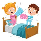 Vector Illustration Of Kids Playing Pillow Fight. Eps 10 Royalty Free Stock Photography