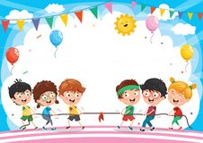 Vector Illustration Of Kids Playing Pulling Rope. Eps 10 Royalty Free Stock Photos