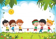 Vector Illustration Of Kids Playing Pulling Rope. Eps 10 Stock Photo