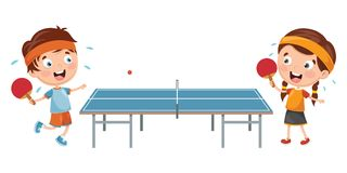 Vector Illustration Of Kids Playing Table Tennis. Eps 10 Royalty Free Stock Image