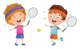 Vector Illustration Of Kids Playing Tennis. Eps 10 Royalty Free Stock Photo