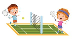 Vector Illustration Of Kids Playing Tennis. Eps 10 Royalty Free Stock Image
