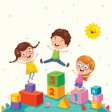 Vector Illustration Of Kids Playing. Eps 10 Royalty Free Stock Image